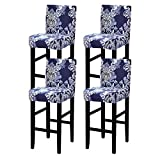 Crafttable 4 Pcs Printed Bar Stool Cover Stretch Pub Counter Stool Cover Height Side Chair Seat Cover Barstool Slipcovers for Dining Room Kitchen Cafe Furniture Chair,12