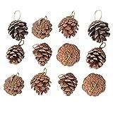 VOSAREA 12 colgantes de Navidad decorativos de piña natural árbol de Navidad colgantes para decoración de la casa del festival