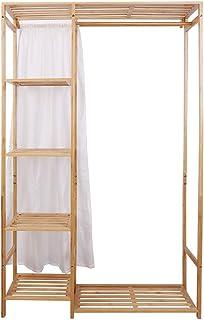UNHO ハンガーラック クローゼット 竹製 ワードロップ カーテン付き 棚付き コートハンガー 洋服 収納 大容量 多目的ラック 洋服ラック 洋服掛け 幅90cmx高さ146