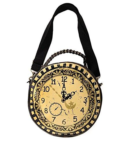 Banned Gótico Steampunk Negro Marrón Redondo Reloj Hombro Bolso De Mano Grande