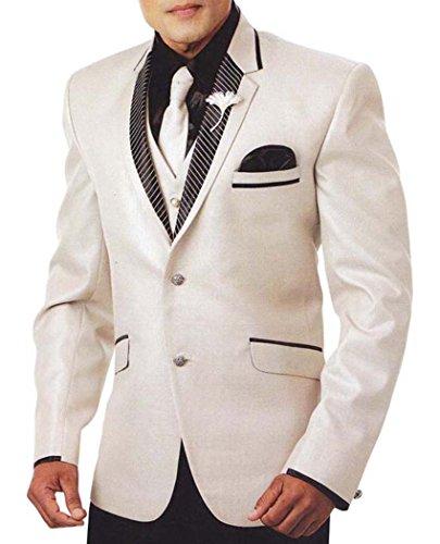 INMONARCH Hommes Costume Smoking Crème Regardez Glamour 7 Pc TX929R36 46 Or S (Hauteur 171 cm a 180 cm) Cream
