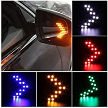 QAWACHH Car Rear View Mirror LED Arrow Panel Turn Signal Indicator Light (White) -2 Piece