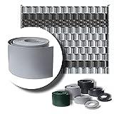 LeoDalm Sichtschutzstreifen für Doppelstabmatten Premium-PP (Polypropylen) 3D Zaun Stärke 1,7mm (19cm x 26m, Fenstergrau)