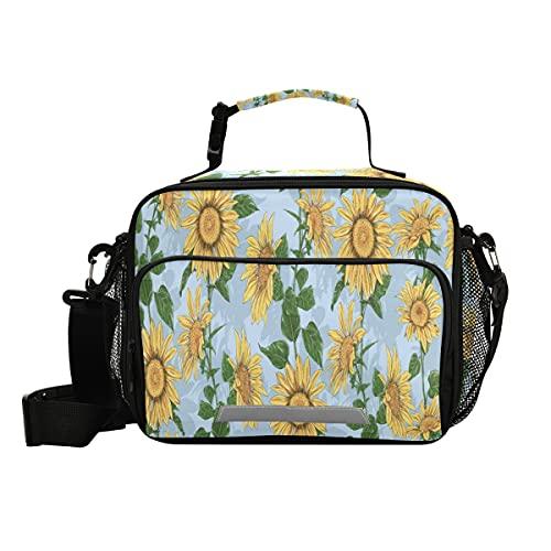 Bolsa de almuerzo aislada de girasoles y hojas con correa ajustable para el hombro, loncheras para picnic y nevera para niños y niñas