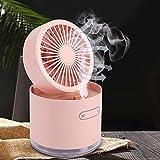 zxytg Desktop Usb Fan Portable Humidifier Fan 2000Mah Rechargeable Battery Fan
