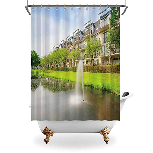 ALUONI Attractive Shower Curtain,Decorative Water Fountain in a Pond Next to Residential Houses and Apartments on a Sunny Summer Day for Bathroom,65 in x 71 in