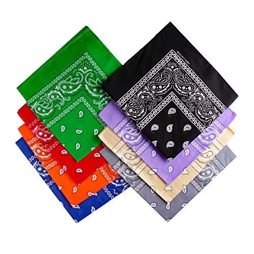 Ambielly Pañuelos Clásico Impresión Paisley Pañuelos 100% algodón Envoltura de la cabeza Pulseras Bufandas