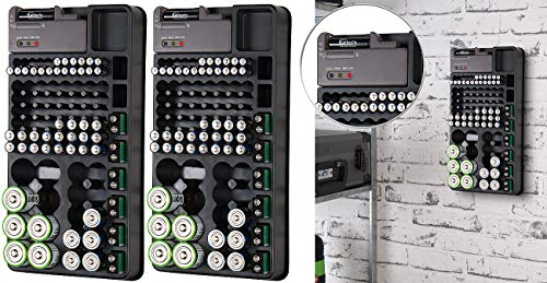 tka Köbele Akkutechnik Batteriebox: 2er-Set 2in1-Batterie-Organizer mit Tester, für je 98 Batterien (Batterie-Halter)