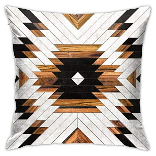 Jacklee Urban Tribal Pattern Aztec Concrete and Wood Funda de cojín para sofá, decoración del hogar, 45,7 x 45,7 cm