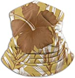 Cathycathy Hibiscus Brown Palm Leaves Gold Neck Warmer Gaiter Windproof Mouth Scarf for Men Women