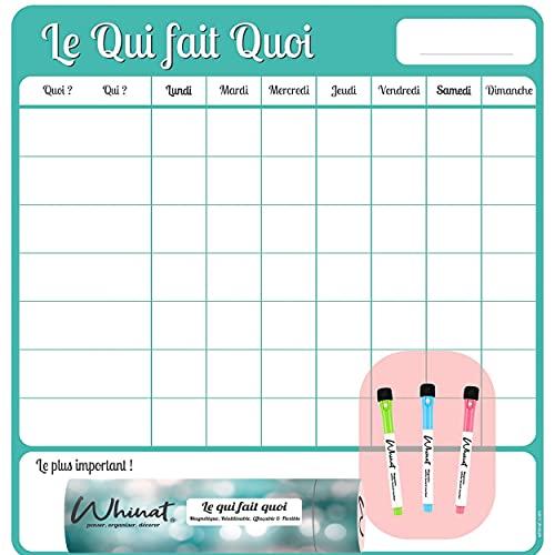 Tableau Magnétique Frigo pour Tâches Ménagères 'LE QUI FAIT QUOI' - Magnet Planificateur pour votre cuisine - Calendrier / Agenda hebdo et familial pour répartir vos tâches entre parents et enfant !