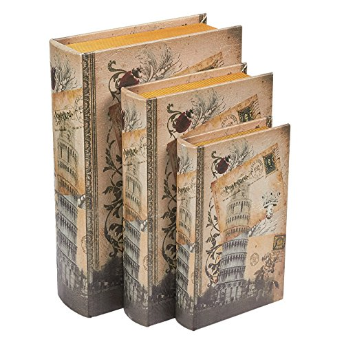 Juvale Libro scatole,3Different Size/Set Country Effetto Rustico Tower of Pisa Design