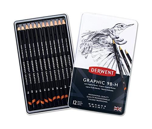 Derwent Graphic - Lápices de grafito blandos (12 unidades, 9B-H, en estuche de metal), color negro