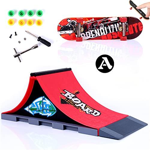 MOMSIV Finger Skateboard und Rampe Zubehör Set-Fingerboard Skate Park Spielzeug Set-DIY Finger Skate Boarding Ultimate Sport Training Requisiten Spielzeug für Kinder(A)