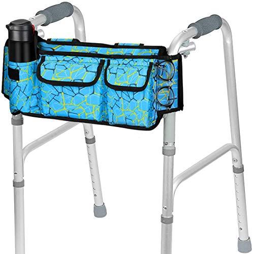 SupreGear Walker Bag, [Versión Revisada]Bolsa para Organizador Cesta Plegables para Cualquier Tipo Andador/Rollator/Silla de Ruedas, Gancho y Bucle Actualizado, Fácil Acceso Bolsillo Cremallera