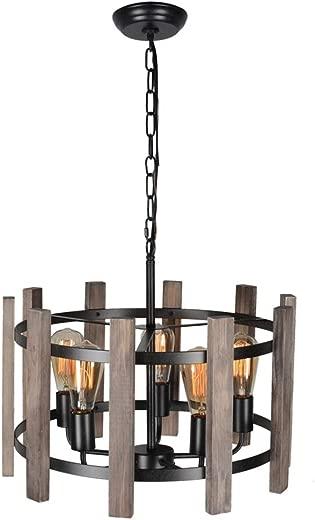 ✅Baiwaiz Round Farmhouse Chandelier Light, Metal and Wood Pendant Light Fixture Drum Chandelier Rustic Dining Room Light 5 Lights Edison E26 072 #Lighting & Ceiling Fans