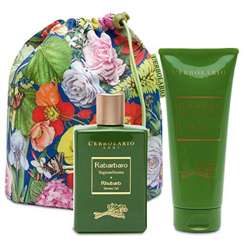L'Erbolario Beauty Bag Duo Rhabarber - Schaumbad 250 ML - Creme für der Körper 200 ML