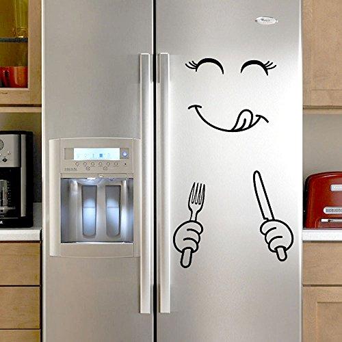 Walaha - Adhesivo decorativo para pared para nevera, diseño de cara deliciosa y feliz
