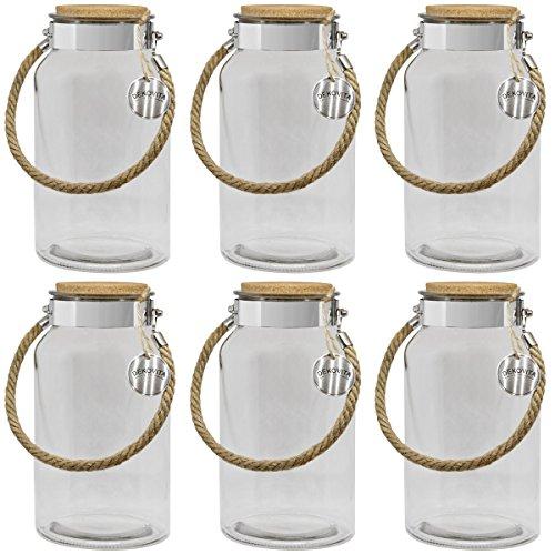 Dekovita Vorratsglas 6er Set 5l H:30/D:16/Ö:10,6cm Korkdeckel Kordel Gartenlaterne Glasbehälter Dekoglas Windlicht Vase