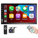Hikity Apple Carplay Double Din Car Stereo Android Auto Carf Radio 7 Inch Touchscreen Bluetooth FM Receiver Support Mirror Link SWC + Wireless Remote Controller & Reverse Camera