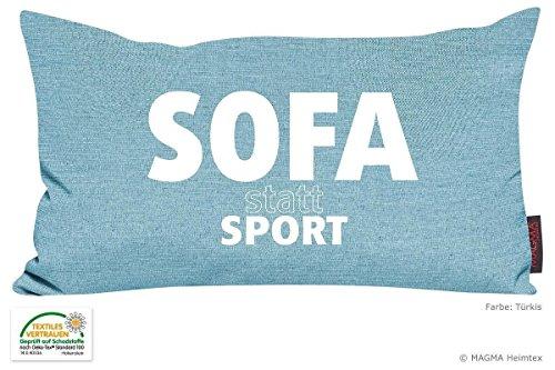 Kissen Zitat Sofa statt Sport - türkis 30x50 Made in Germany