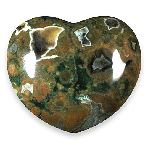 Riolita de corazón con cristal–4cm