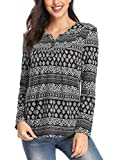 Urban CoCo Women's Ethnic Style Shirt Floral Print Long Sleeve Tops for Women (M, 1)
