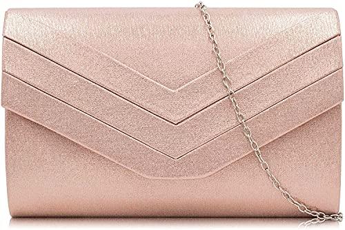 Milisente Damen Clutch, Handtasche Clutch Umschlag Crossbody schultertasche Clutch Tasche Abendtasche (Rose Gold)