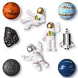 9 Pieces Resin Astronaut Fridge Magnet Space Series Astronaut 3D Creative Fridge Magnets Creative Planetary Fridge Magnets Universe Style Refrigerator Magnet for Cabinet Refrigerator (Funny Style)