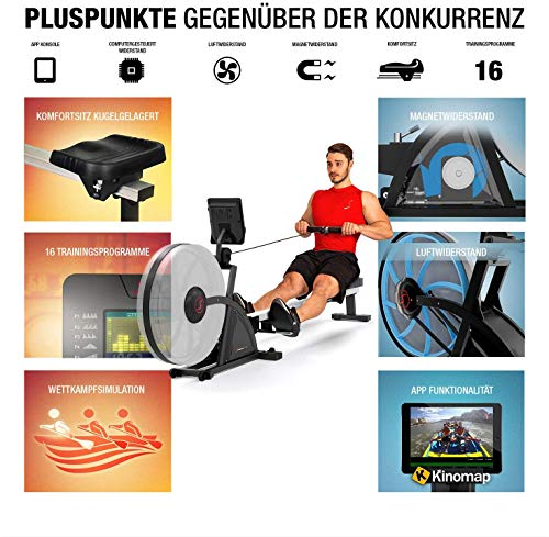 Sportstech 2in1 Profi Rudergerät mit 16 fachem Luft- und Magnetbremssystem, Smartphone App, 4 Puls- und 12 Trainings-Programme, RSX600, Wettkampfmodus, klappbar, inklusive hochwertigem Pulsgurt Bild 5*