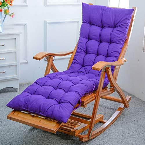 silla Mecedora De Diseño Ergonómico Ocio Tumbonas Reclinables Bambú Pulido Sin Rebabas Plegable Y Ajustable para Jardín Al Aire Libre Dormitorio, Almohadilla De Algodón Púrpura