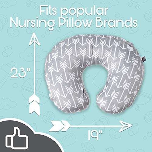 Minky Nursing Pillow Cover   Arrow Pattern Slipcover   Best for Breastfeeding Moms   Soft Fabric Fits Snug On Infant Nursing Pillows to Aid Mothers While Breast Feeding   Great Baby Shower Gift
