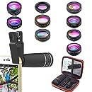 Kit de lentes de cámara para teléfonos 10 en 1 Lente telefoto 10X, lente ojo de pez, gran angular, lente macro, lente caleidoscopio para iPhone Samsung y la ...