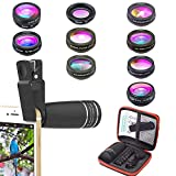Kit de lentes de cámara para teléfonos 10 en 1 Lente telefoto 10X, lente ojo de pez, gran angular, lente macro, lente caleidoscopio para iPhone Samsung y la mayoría de los teléfonos inteligentes