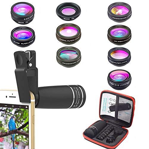 APEXEL Phone Objektiv Kit, 10 in 1 Handy Kameraobjektiv Zoom Teleobjektiv + Fisheye Objektiv + Weitwinkel & Macro Objektiv + CPL/Flow/Radial/Stern Filter + Kaleidoskop 3/6 Objektiv für iPhone Samsung