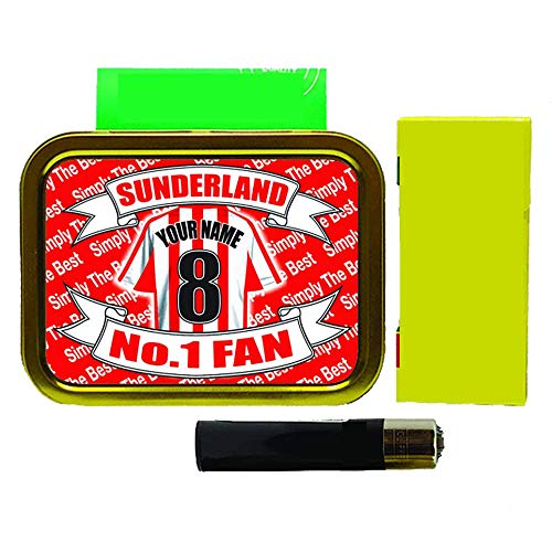 Sunderland Football Shirt Personalised Tobacco Tin & Products Gift