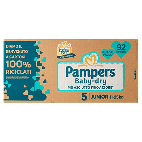 Pampers Pannolini Baby-Dry Junior Taglia 5, 92 Pezzi - 3726 g