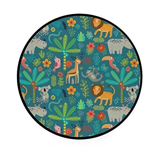 Alfombra redonda para gatear, diseño de animales de la selva, alfombra de piso para sala de estar, lavandería, sala de juegos, 152,4 cm, lavable