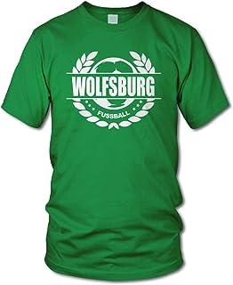 shirtloge - Wolfsburg - Fussball Lorbeerkranz - Fan T-Shirt - Größe S - 3XL