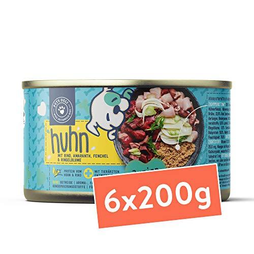 Junior Hundefutter nass 1,2 kg - 6er-Pack | Premium-Qualität | Rind & Huhn mit Fenchel – Nassfutter für Junior Hunde mit 50% Fleischanteil, getreidefrei und frei von unnötigen Zusätzen