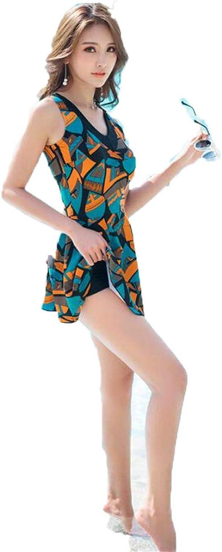 Suitshome Women's Vintage Swim Dress V Neck Flower Sea Bikinis Swimsuit