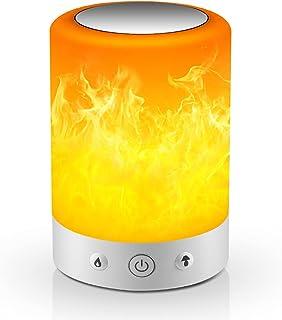 MRCOOL Lampe de Chevet avec Effet de Flamme, Lampe de Table à Intensité Variable et Lumière de Nuit Led à Changement de Co...