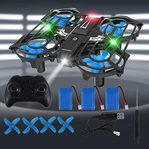 Mini Drohne für Kinder Quadrocopter mit 3 Akkus, Höhenhaltung,Kopflos Modus, Start / Landung mit einem Knopfdruck, 3D Flip und 3 Geschwindigkeitsmodi Flugzeug für Anfänger