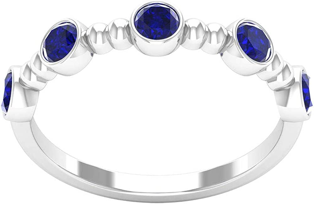 3/4 CT Lab Created Blue Sapphire Promise Ring, Blue Beaded Ring, Five Stone Ring (3 MM Round Cut Lab Created Blue Sapphire), 14K Gold