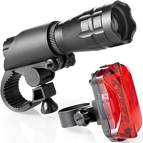 TDNE Superhelle LED fahrradlicht Set - Einfache Montage fahrradlampe vorne mit Schnellverbindungssystem Und rücklicht Fahrrad - Mit Fahrrad rücklicht,vorderer und hinterer Fahrrad Beleuchtung