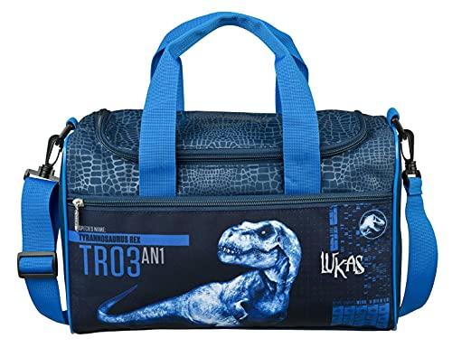 Sporttasche mit Namen | inkl. NAMENSDRUCK | Motiv Dinosaurier T-Rex Dino | Personalisieren & Bedrucken in Wunschfarbe | Reisetasche Jungen Tragetasche Umhängetasche