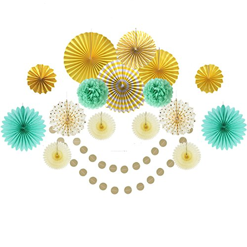 Easy Joy Decoración Oro Verde Blanco Chic, Ventilador Pompom Guirnalda Colgante para Fiesta de Baby Shower Aniversario de Boda Verano Carnaval para Cumpleaños