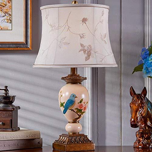 N/Z Equipo Diario Lámpara de Escritorio de pájaro Europea Pintada a Mano Lámpara de Noche para Dormitorio Lámpara de Mesa de Lujo de jardín Retro Creativo (Color: Blanco)