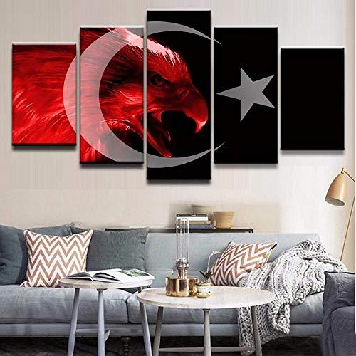 GJXYED geen lijst canvas decoratie schilderij handgemaakt DIY Artwork poster canvas moderne afbeelding voor slaapkamer modulaire 5 stuks vlag van Turkije woonkamer muurschildering Home Decor afbeeldingen 5-delig 150*100CM