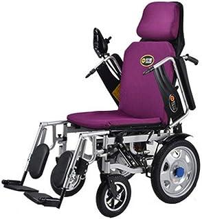DSHUJC Silla de Ruedas eléctrica Plegable Plegable con Brazos de Escritorio abatibles hacia atrás y reposapiernas Elevadoras, sillas de Ruedas eléctricas motorizadas portátiles exclusivas